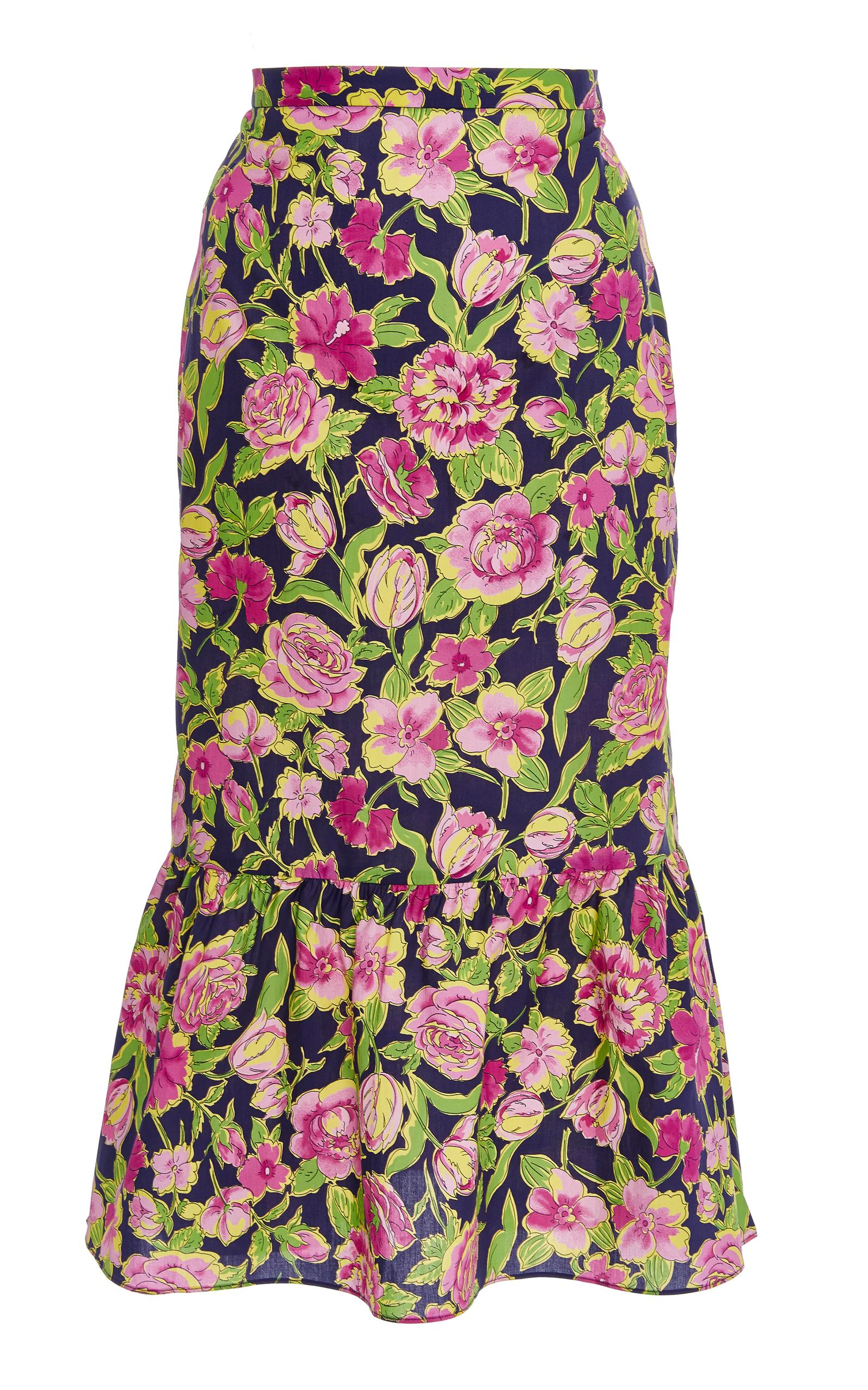 82853ec39 Mds Stripes Pencil Skirt With Ruffle In Navy Floral | ModeSens
