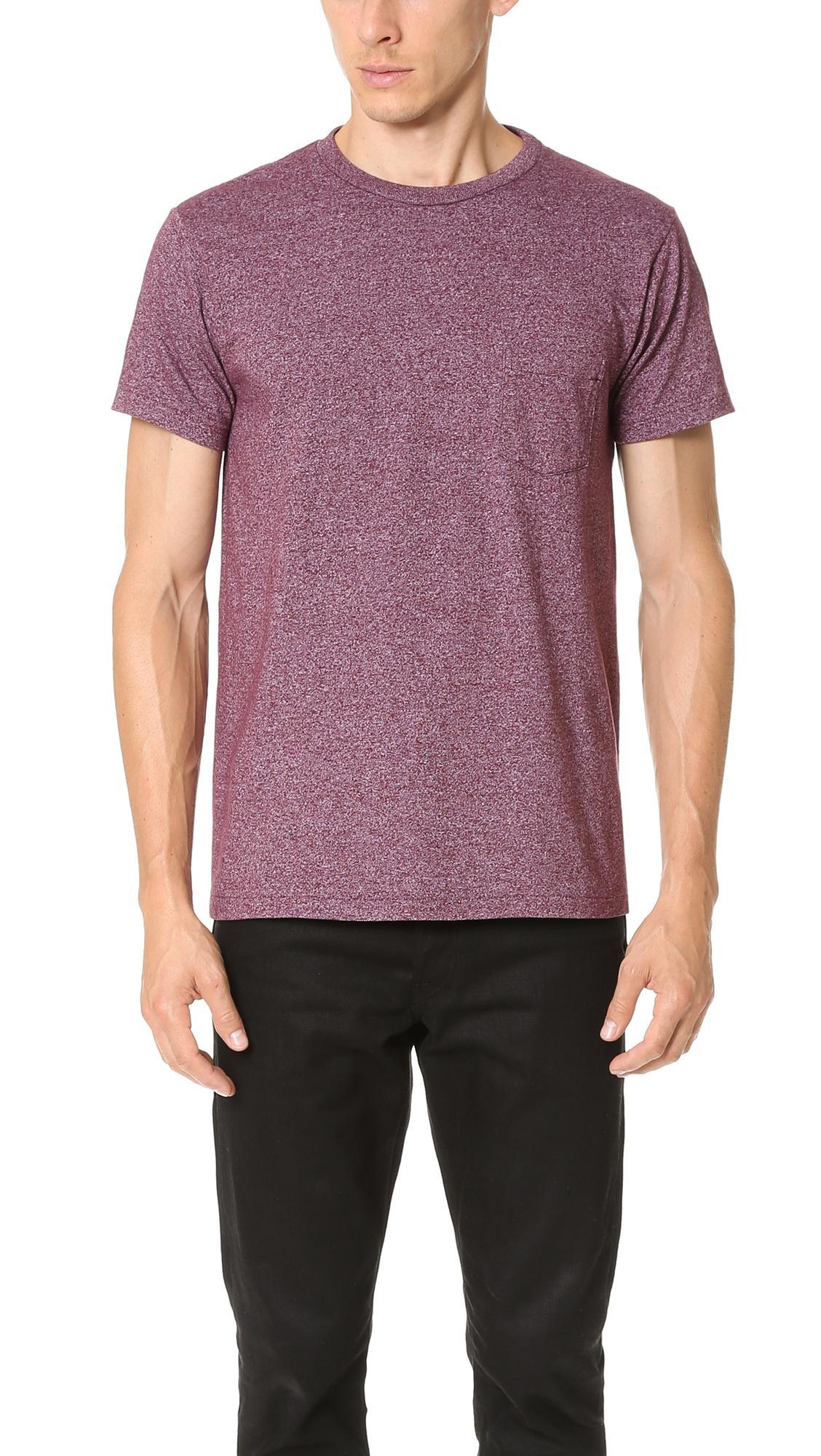 Velva Sheen Mock Twist Crewneck Pocket T-shirt - Xl - Also In: M, S In Burgundy