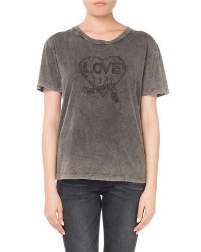 889a2bf07b Crewneck Short-Sleeve Embroidered Heart Cotton T-Shirt