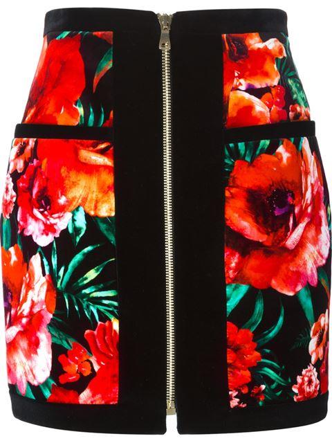 Balmain Woman Floral-print Cotton-velvet Mini Skirt Black In Red/black/green