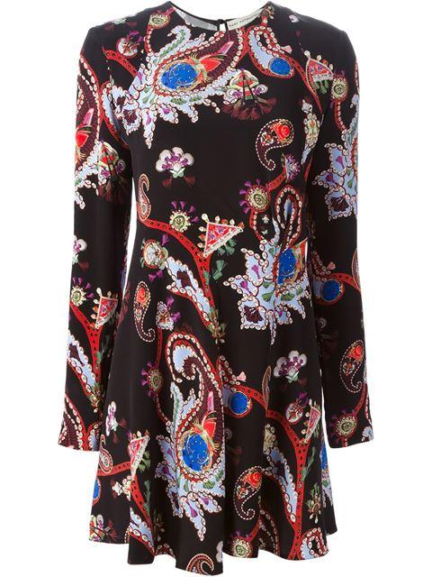 Mary Katrantzou Macbay Urdu Paisley-print Silk Mini Dress In Black