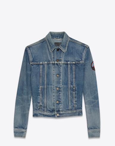 5ca437be4d Jeans jacket with badge in faded blue denim