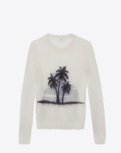 da566796cf3 Saint Laurent Palm Tree Mohair Blend Knit Sweater In Cream In White ...