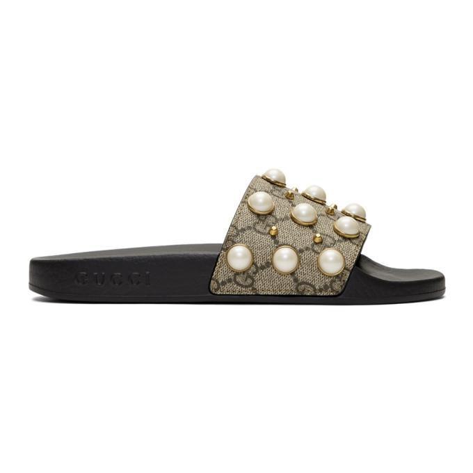 e8aaddf19 Gucci Pursuit Imitation Pearl Embellished Slide Sandal In Brown. SSENSE. 630Login  to see price