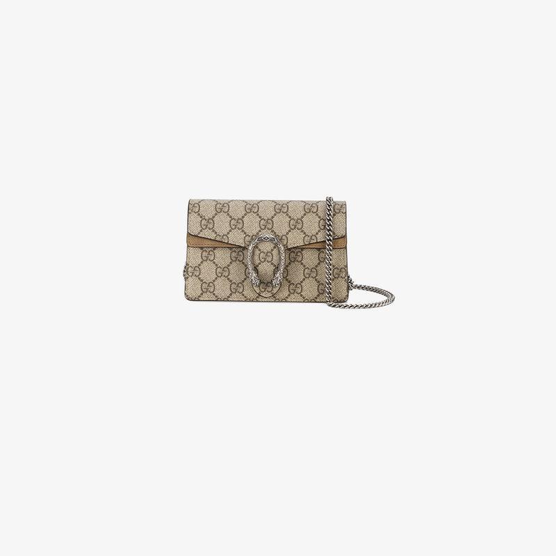 6365f9ce46 Gucci Super Mini Dionysus Gg Supreme Canvas & Suede Shoulder Bag In 8642  B.Ebony