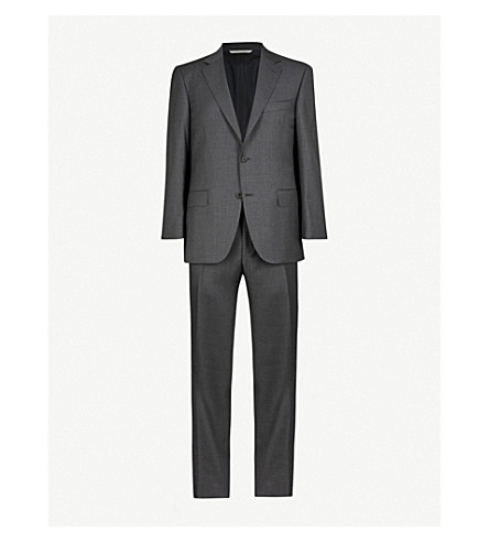 Canali Regular-fit Wool Suit In Nero