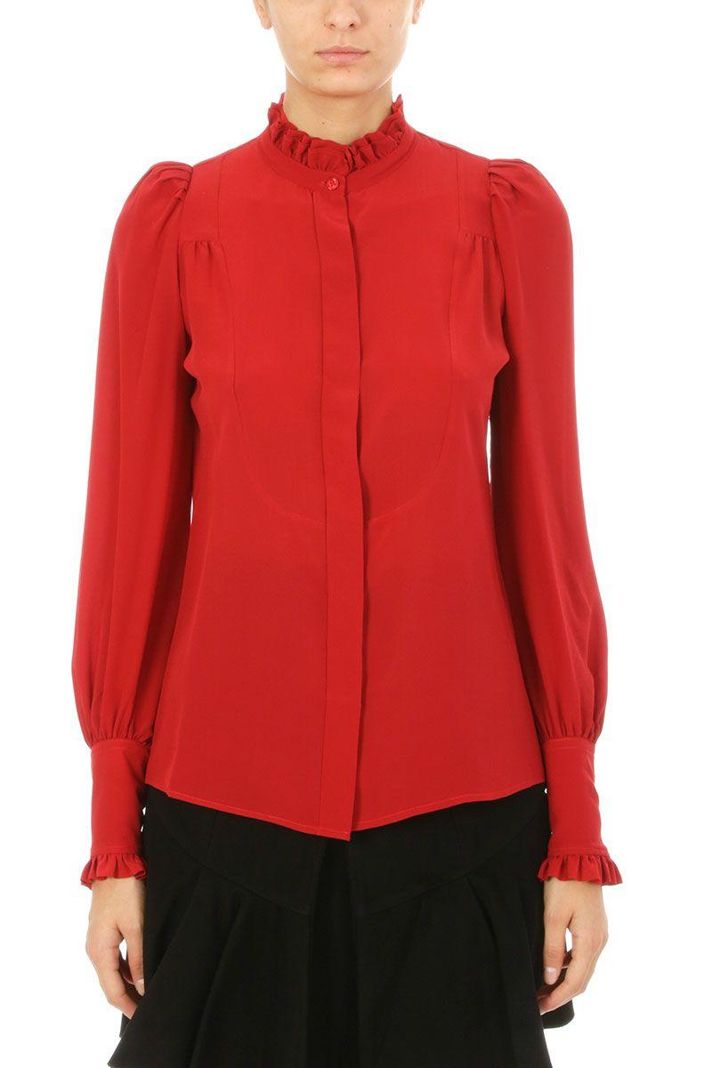 6e71338bd34b60 Isabel Marant Sloan Ruffled High-Neck Blouse In Red | ModeSens