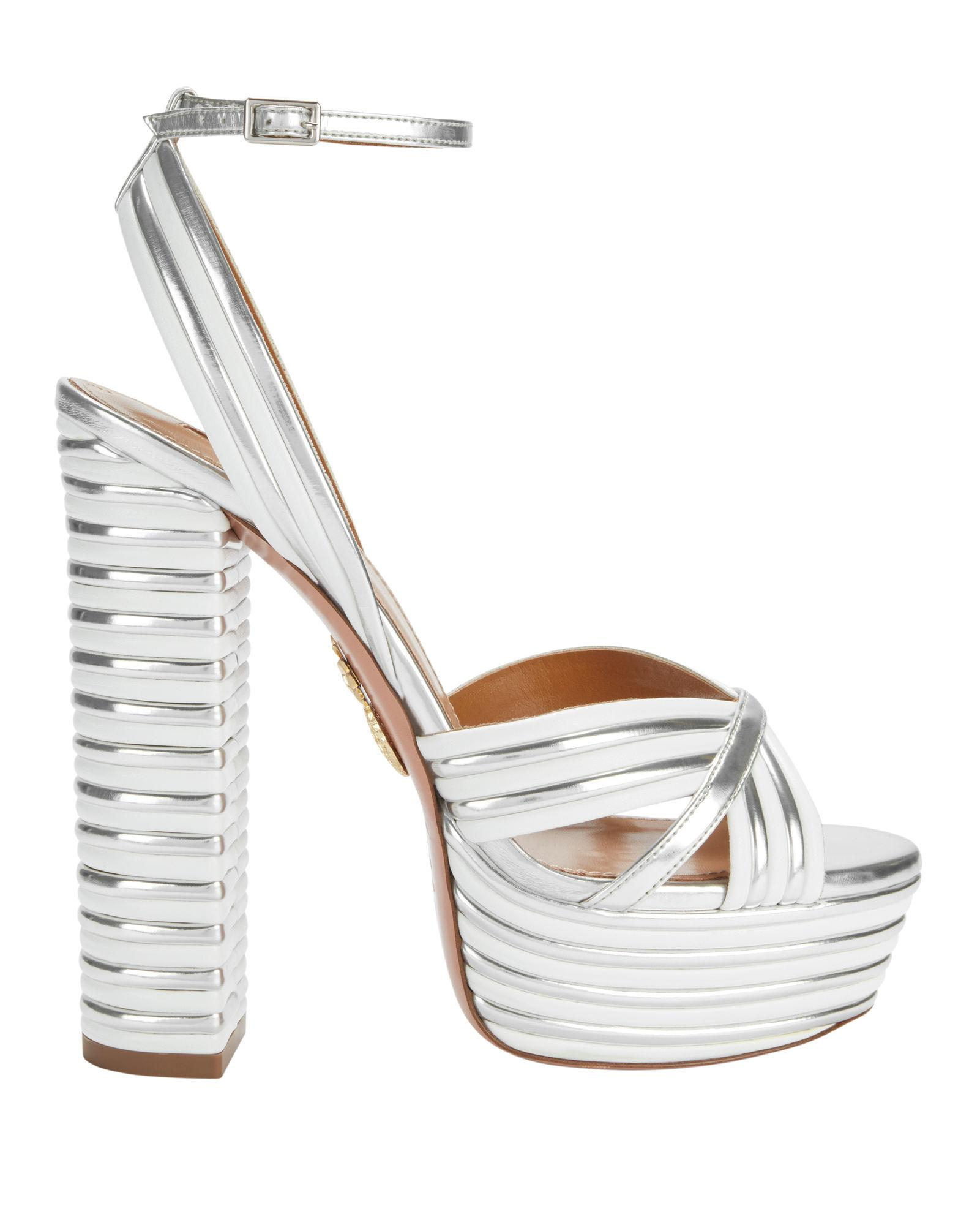 37e1ab56905 Aquazzura Sundance 150 Metallic Faux Leather Platform Sandals In Silver