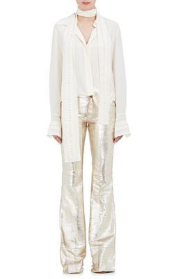 afe4c9afce1752 ChloÉ Scarf-Neck Crepe De Chine Silk Shirt W/ Rhinestone Embroidery In Cream