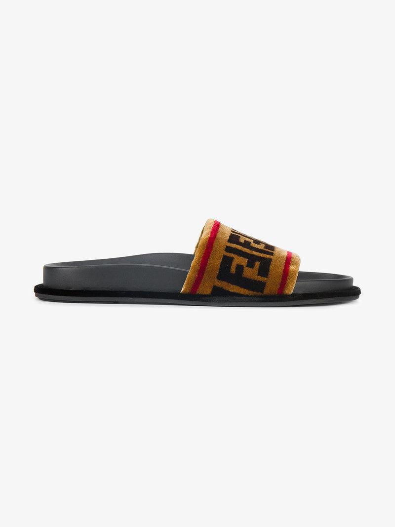 861d9c800536 Fendi Ff Velvet   Leather Slide Sandal In Tan