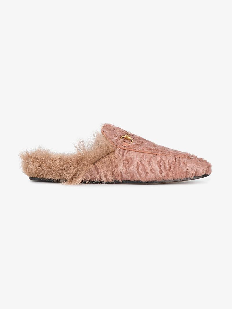071295b2cc3 Gucci - Princetown Shearling Lined Fur Loafers - Womens - Light Pink ...