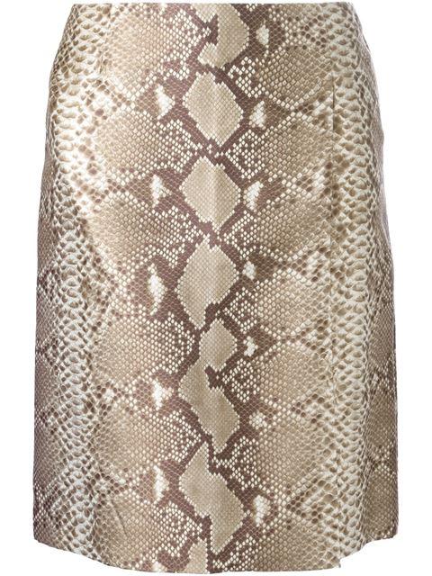 Tory Burch Python Effect Skirt In Khaki