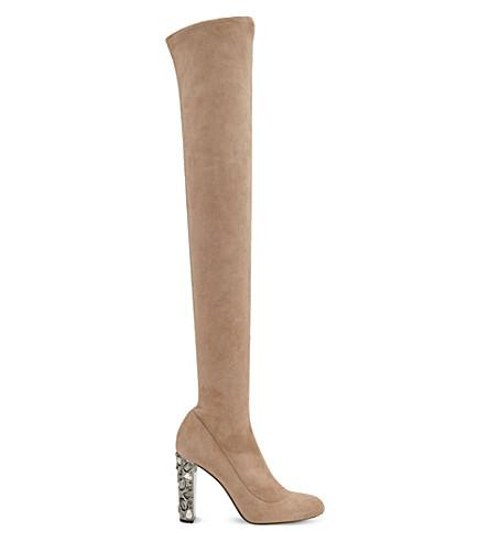 17093c3529f0 Jimmy Choo Mya 100 Ballet Pink Stretch Suede Over The Knee Boots With  Metallic Embellished Heel