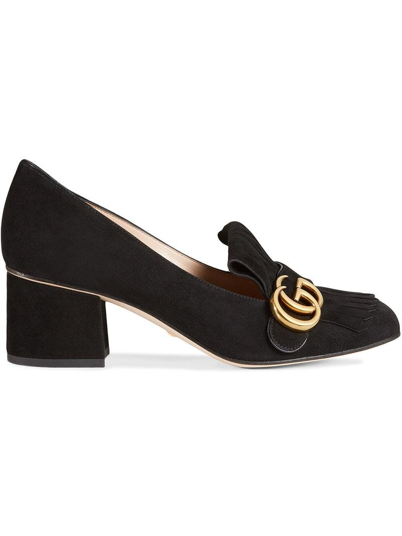 Gucci Fringed Logo-embellished Suede Pumps In 1000 Black