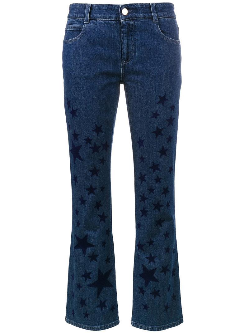 Stella Mccartney Printed Stars Cotton Skinny Kick Jeans In Blue
