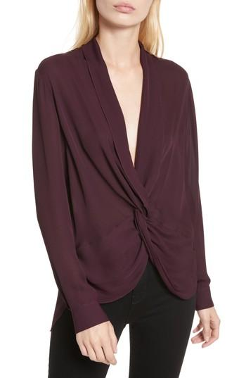 d877d7f5ec51fe L Agence Mariposa Twist Silk Georgette Blouse In Bordeaux