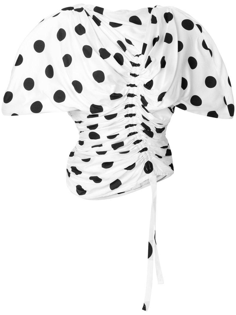 Jacquemus Le Vallauris Fronce Polka Dot Ruched Top In White