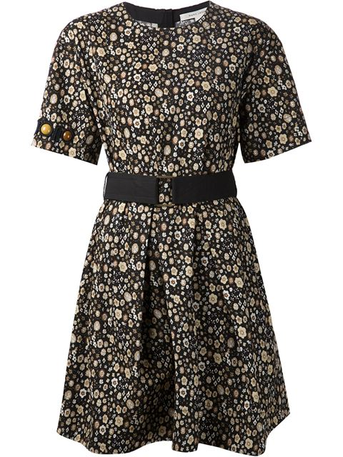 Marc Jacobs Beaded Sleeve Floral Dress In Multicolor
