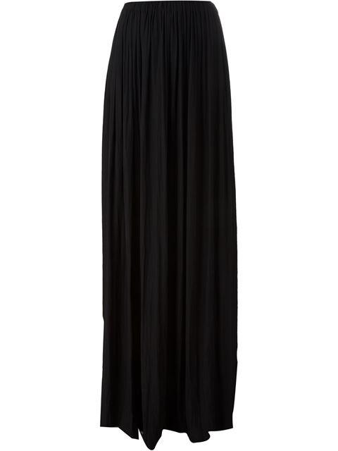 Lanvin Woman Pleated Stretch-crepe Maxi Skirt Black