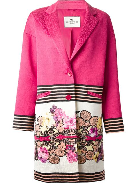 Etro Floral And Stripe Print Coat - Pink