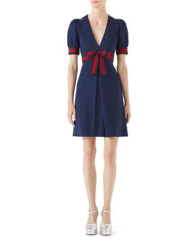 46c4b300f Gucci Grosgrain-Trimmed Stretch-Ponte Mini Dress In Navy | ModeSens
