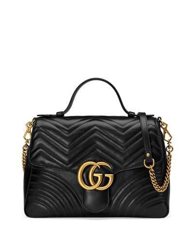 fc7d56590a7c Gucci Gg Marmont Medium Chevron Quilted Top-Handle Bag With Chain Strap In  1000 Nero