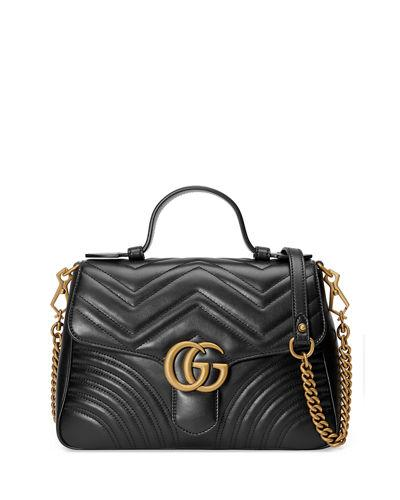 48f8b593fb4 Gucci Gg Marmont Small Chevron Quilted Top-Handle Bag With Chain Strap In  Black