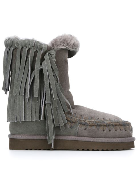 Mou Fringed Shearling Boots In Iron/dark Brown Stitch