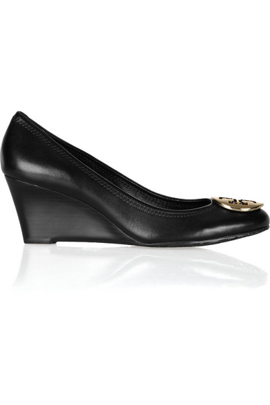 Tory Burch Sally Leather Wedge Pumps In Black