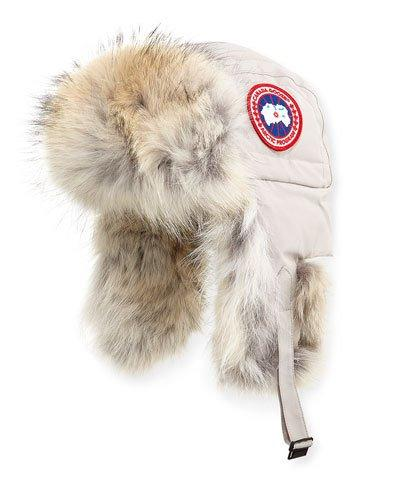 bf6fe1875b8 Canada Goose Aviator Hat With Genuine Coyote Fur Trim In Red