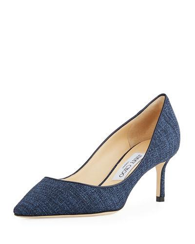 Jimmy Choo Romy Printed Leather 60mm Pump, Blue In Navy