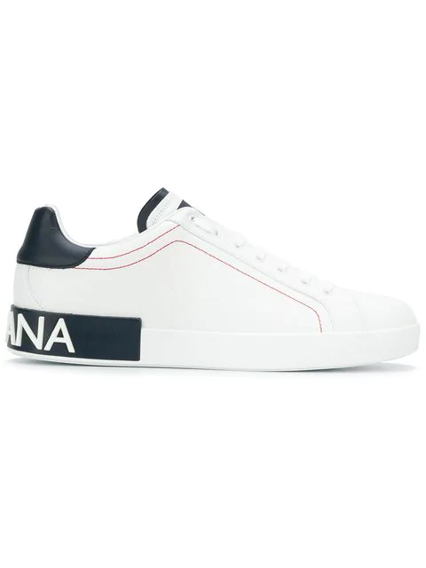 Dolce & Gabbana Men's Portofino Two-tone Leather Sneakers In White