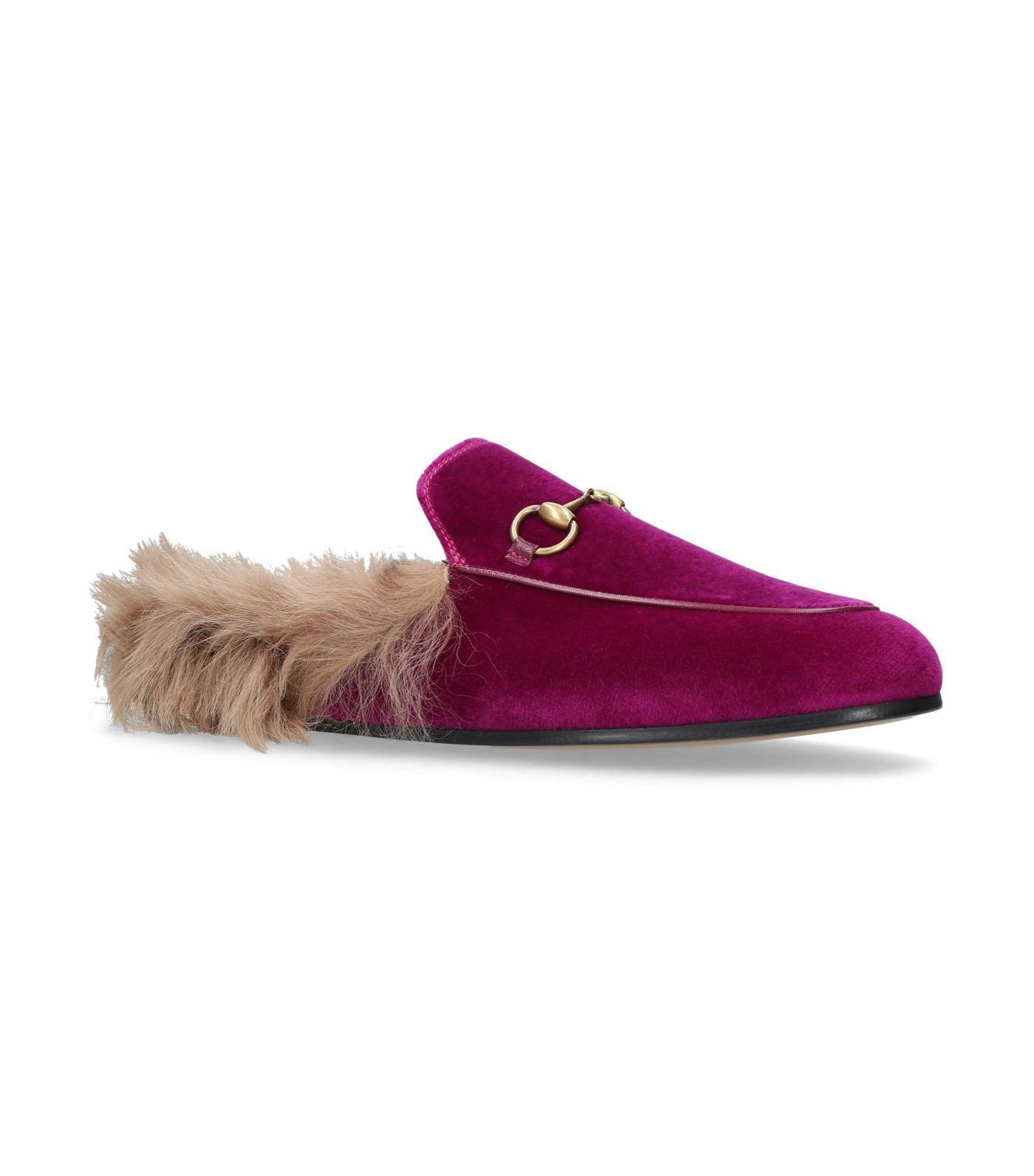 87777f1f4479 Gucci Velvet Princetown Slippers In Pink