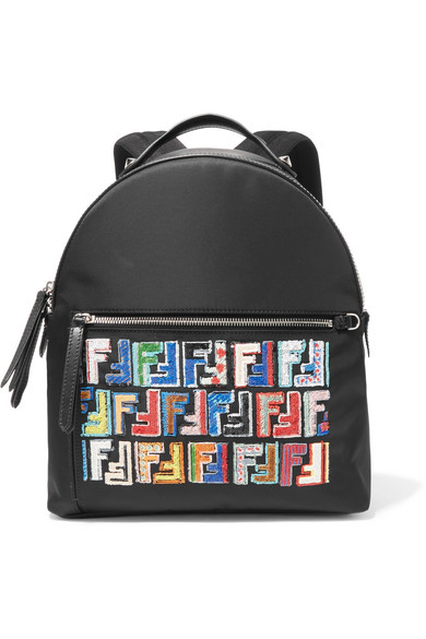bdfb63760458 Fendi Fun Fair Nylon & Sequined Leather Backpack In Black Pattern ...