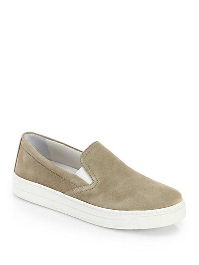 Prada Suede Laceless Sneakers In Deserto-sand