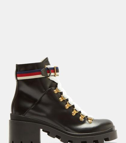 Gucci Lace Up Ankle Boots Trip Calfskin Black In Black Leather