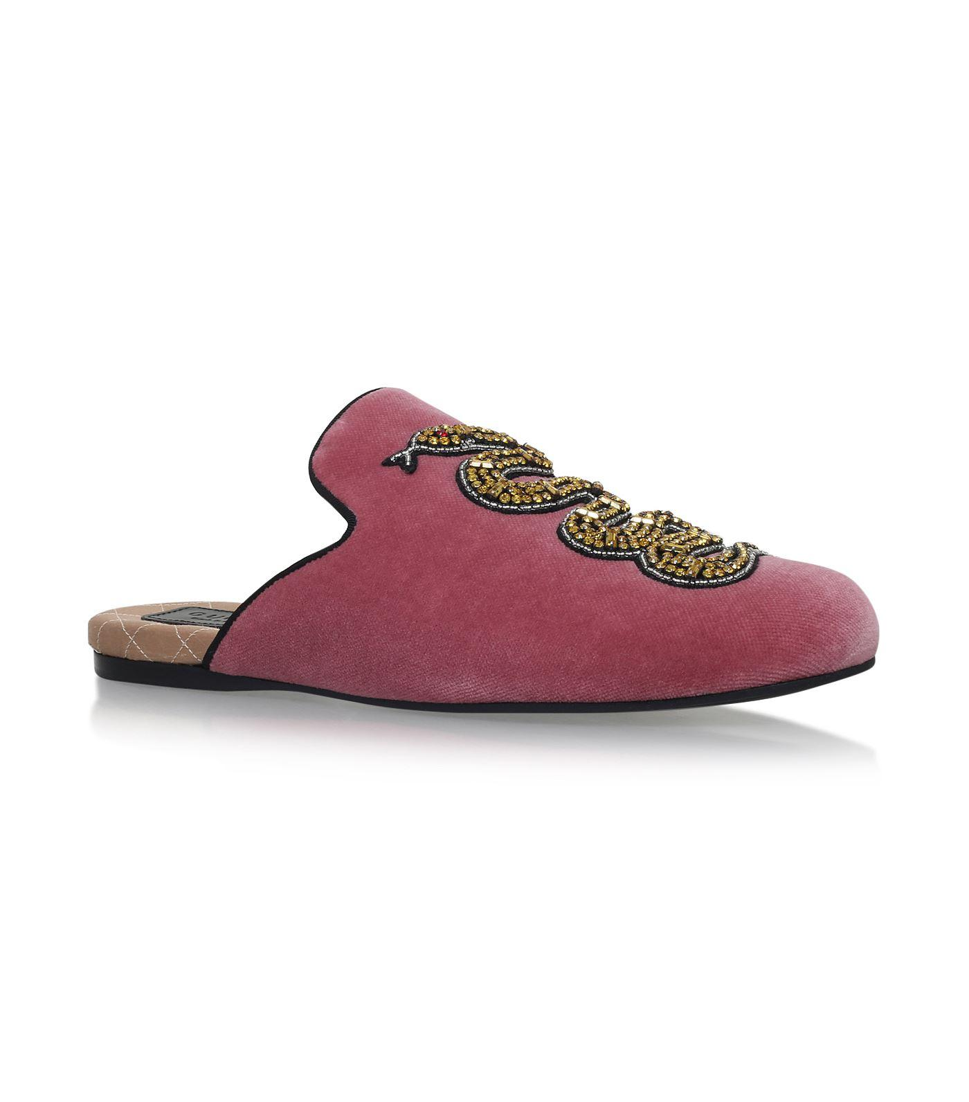 060313f5b21 Gucci Pink Velvet Evening Slipper With Snake In Pink Purple