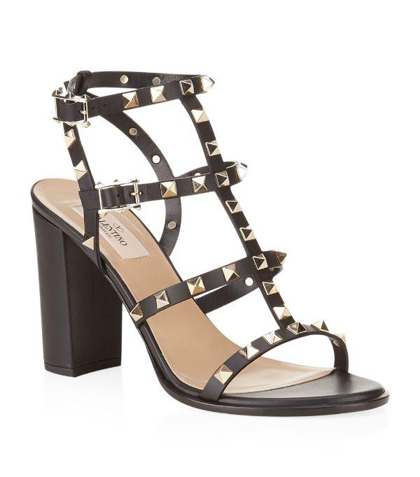 Valentino Garavani Garavani Rockstud 90 Black Leather Sandals