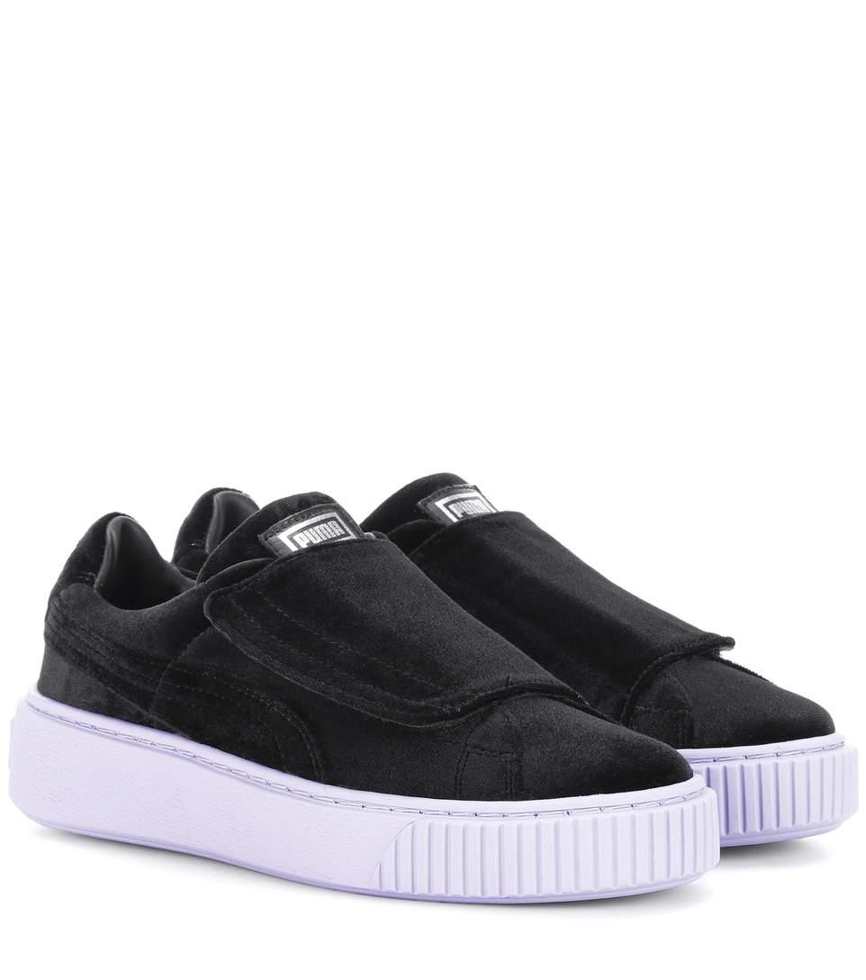 8905cddee172 Puma Women S Basket Platform Strap Velvet Rope Casual Sneakers From Finish  Line In Black  Black