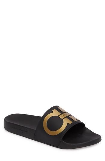 bbcb11c4e Salvatore Ferragamo Men s Groove 2 Original Double Gancini Slide Sandals In  Black Gold