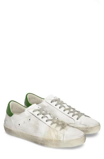 Golden Goose Superstar Leather Low Top Sneakers In White/ Green Leather