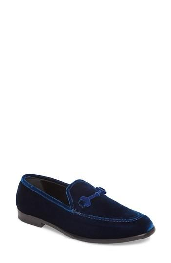 1a8a562c1584 Jimmy Choo Marti F Navy Velvet Loafers In Blue