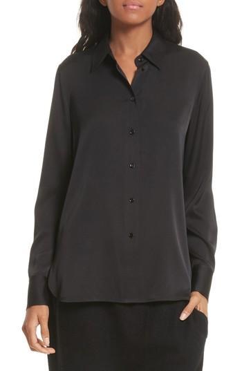 28cd82198b85f Vince Slim-Fit Long-Sleeve Stretch-Silk Blouse In Black