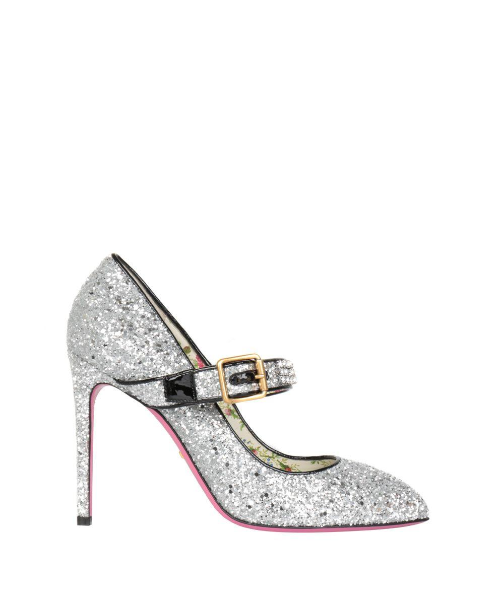 a5147760d27 Gucci Sylvie Crystal-Embellished Glittered Leather Pumps In Silver ...