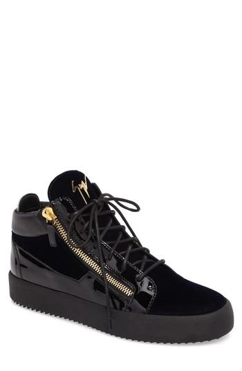 d58517e18f2f8 Select Size. Store Status Price. Giuseppe Zanotti Double Zip Velvet Panel  Mid-Top Trainers In Blue