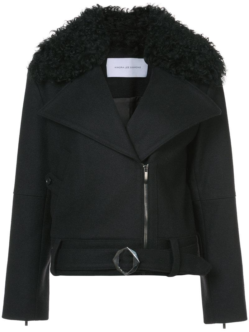 Kimora Lee Simmons Removable Shearling Collar Bomber Jacket In Black