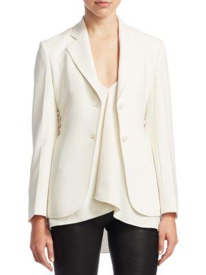 5ceecda6699 Theory Admiral Crepe Lace-Up Suit Jacket In White   ModeSens