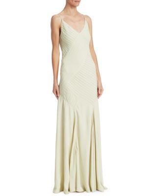 88b4d35a1c Ralph Lauren Augustina V-Neck Sleeveless Pintucked Evening Gown In Green