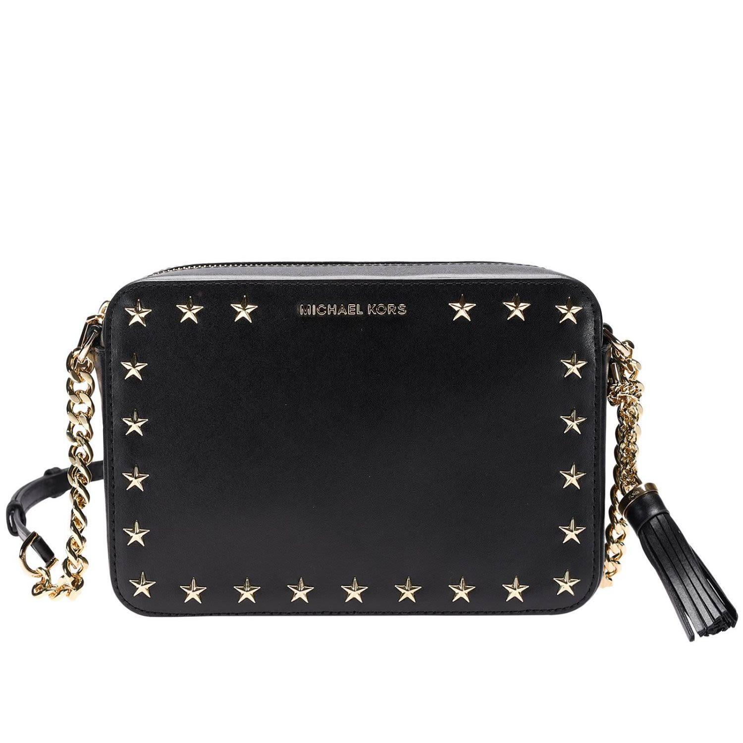 9376e8dc8c6106 Michael Michael Kors Medium Ginny Star Studded Leather Crossbody Camera Bag  - Black