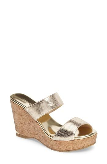 35b569fc994a Jimmy Choo Parker 100 Metallic Textured-Leather Wedge Sandals In It35